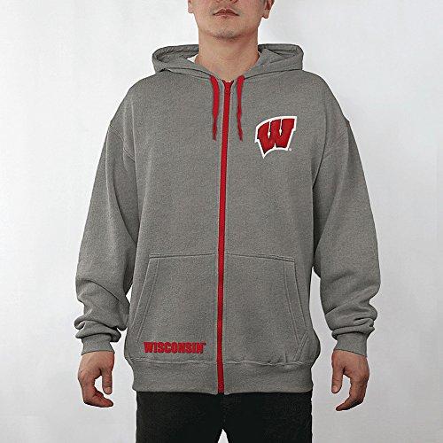 Elite Fan Shop Wisconsin Badgers Full Zip Hoodie Sweatshirt Captain Gray - XXL