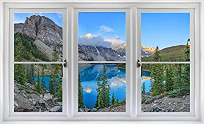 """24"""" Window Landscape Scene Nature View CANADA MOUNTAIN LAKE DAY #3 WHITE CLOSED Wall Sticker Room Decal Home Office Art Décor Den Mural Man Cave Graphic SMALL"""