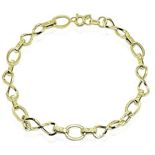(14k Gold Italian Lightweight Infinity Twist Oval and Bar Chain Link Bracelet)