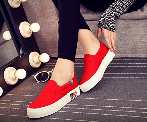 CHFSO Womens Casual Low Cut Round Toe Plus Loafers Sneakers Shoes Red N1QwApmu