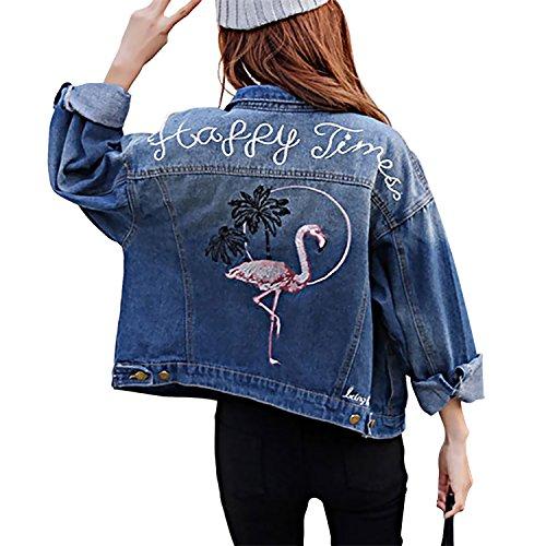 Sasairy Women's Embroid Flamingo Pattern Denim Loose Fit Long Sleeve Jean Jacket