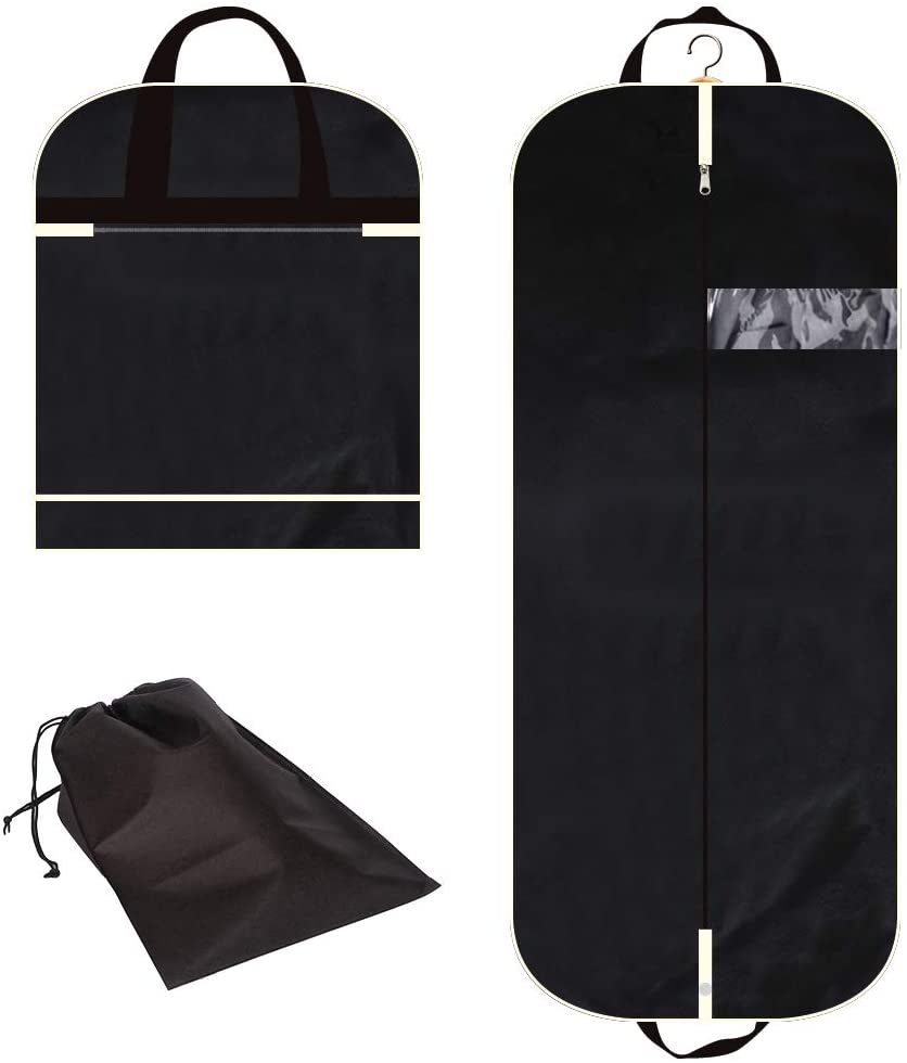 Gusseted Suit Cover Mens Womens Foldable Hanging Bags for Clothes Shirts Dresses Coats 54 Garment Bag with Extra Large Pockets for Travel
