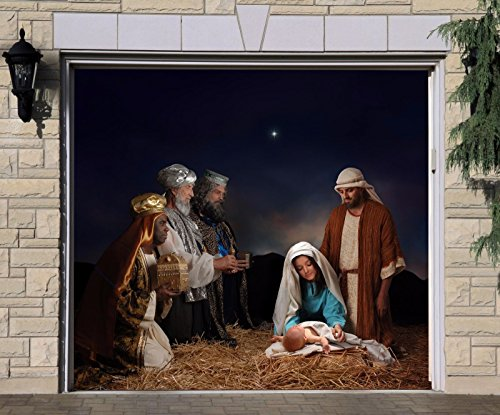 Nativity Scene Garage Door Banner Jesus Single Garage Door Covers Billboard House Garage Merry Christmas Holy Night Decor Full Color Decor 3D Effect Print Mural Banner Size 83 x 89 inches DAV200 by WallTattooHome