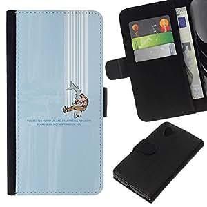 // PHONE CASE GIFT // Moda Estuche Funda de Cuero Billetera Tarjeta de crédito dinero bolsa Cubierta de proteccion Caso LG Nexus 5 D820 D821 / FUNNY - SHARK HUMOR /