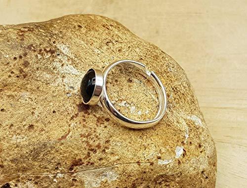 Minimalist Adjustable Snowflake Obsidian Ring Virgo Jewellery.
