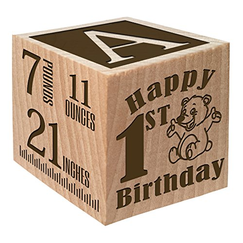 1st Birthday Present - Personalized Block for Baby First Birthday Gift - Custom Engraved Wooden Baby Block for Boy and Girl - Birthday Blocks 1st