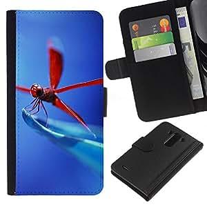 KLONGSHOP // Tirón de la caja Cartera de cuero con ranuras para tarjetas - Libélula roja - LG G3 //