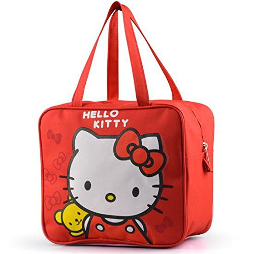 - Hello Kitty - Super Cute Kitty and Pet with Bows on Red Lunch Bag