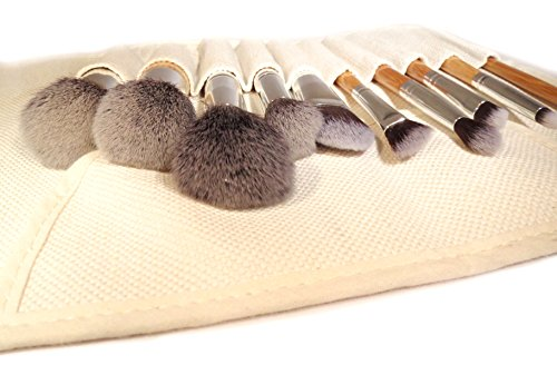 Eco Bamboo No Animal Hair Kabuki Makeup Brush Tool Set - 10 Piece Cosmetic Brush Kit For A Flawless Air-Brush-Effect Finish, Canvas Travel Organizer Bag - New Leaf Products, The Eco-Friendly Company