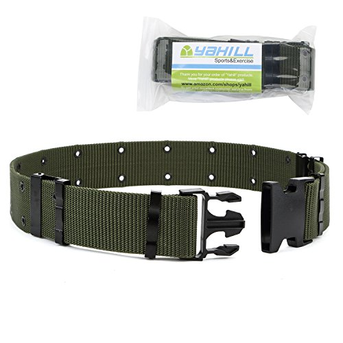 YAHILL Adjustable Security Tactical Belt Heavy Duty Rescue Belt for Outdoor Sports and Hunting (Army Green) - Green Tactical Utility Belt