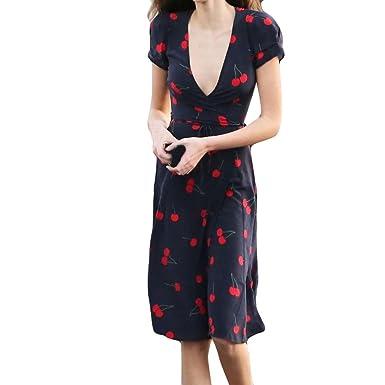 dd5343e0101 ADESHOP Femmes D éTé Manches Courtes Cherry Print Sexy Dress Femmes Deep  Col V Slim
