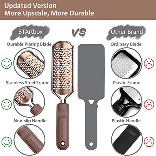 Pedicure Foot File Callus Remover - BTArtbox Large Foot Rasp Colossal Foot Scrubber Professional Stainless Steel Callus File for Wet and Dry Feet