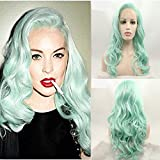Eversilky Synthetic Wigs Long Wave Green Wig Heat