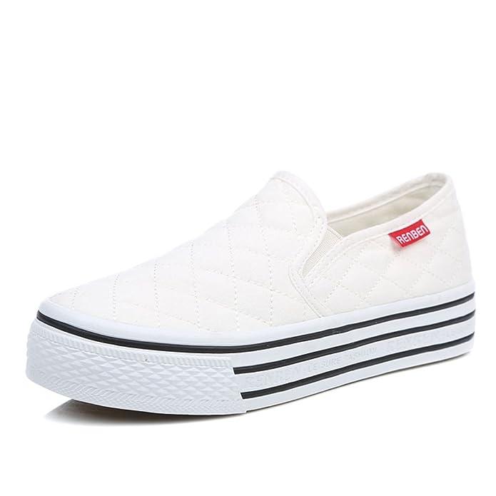 Frühling Schuhe,Frauen Mit Kleinen Weißen Schuh,Student Lässige Damenschuhe,Weiße Slipper Dicken Sohlen Plateauschuhe-B Fußlänge=23.8CM(9.4Inch)