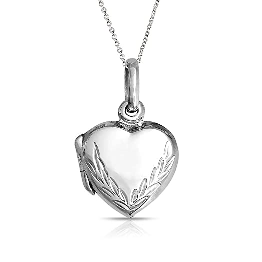 Bling Jewelry Leaf Engraved Heart Locket Pendant Sterling Silver Necklace 16 Inches yGzJfhYBm