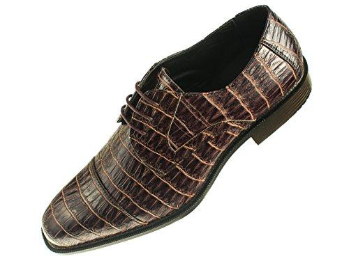 Bolano Mens Brown and Tan Peek Thru Exotic Croco Print Oxford Dress Shoes: Style Gaines Tan-065