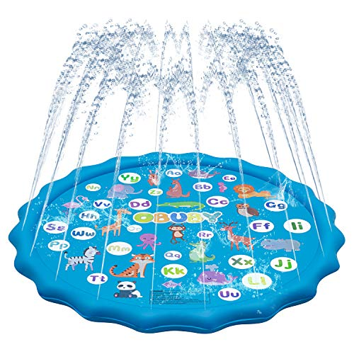 "Obuby Sprinkler & Splash Play Mat for Kids, Splash Pad for Wading and Learning, 60"" Children Outdoor Water Sprinkler Toys from A to Z Outdoor Swimming Pool for Babies Toddlers and Boys Girls"