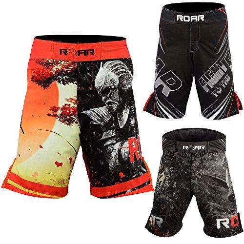 AKRON MMA ROAR MMA Shorts UFC Cage Fight Grappling Muay Thai Jiu Jitsu Stretch Cross-Training Kickboxing Gear(Black/warrior, Medium) (Warrior Fight Gear)