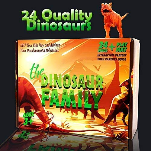 SHOOF Dinosaur Toys Set for Boys & Girls – 12 Large & 12 Small Toy Dinosaurs + Play Mat – BPA-Free Plastic Dinosaurs for School, Playtime, Party Supplies – Realistic Dinosaur Figurines for Kids 3+