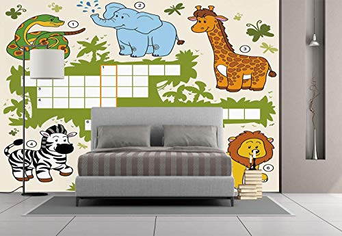 Funky Wall Mural Sticker [ Word Search Puzzle,Colorful Crossword Game for Children Wild Jungle Safari Animals Grid Decorative,Multicolor ] Self-adhesive Vinyl Wallpaper / Removable Modern Decorating -