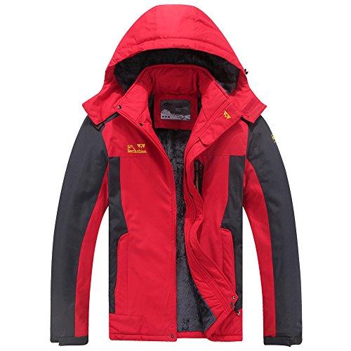 Men's Mountain Waterproof Ski Jacket Windproof Rain Jacket #9931-Red, US XL (Tag 6XL)