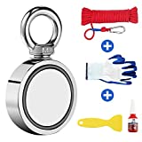 """Wukong Fishing Magnet Double Sided Neodymium Magnet with Heavy Duty Rope & Carabiner, 660 LBS Pulling Force Super Strong Magnet for Magnetic Fishing, Treasure Hunting Underwater - 2.36"""" Diameter"""