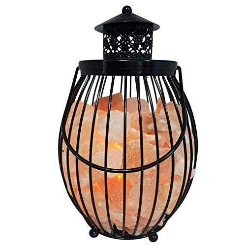 Himalayan Glow 1342 Lantern Style Metal Basket Night Lamp with Salt Chunks, 7-9 - Cat Black Himalayan