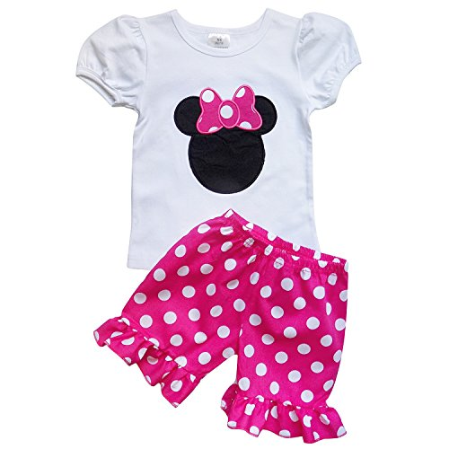 [So Sydney Girls Toddler Pink Minnie Mouse Boutique Outfit, Top & Capri Shorts (XXL (7), Hot Pink Polka] (Mickey Dress)