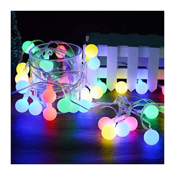 """Ollny Globe String Lights 100 LED 33ft for Indoor Bedroom Wedding Party Outdoor Christmas Garden Decorations Bulb Fairy String Lights with Remote Plug in Multi Color - 💡 8 LIGHTING MODES: The multi-color globe string lights, string length is 33ft, have 100 LEDs and 8 working modes - Combination, In Waves, Sequential, Slo-Glo, Chasing/Flash, Slow Fade, Twinkle/Flash, Steady on. You can use the remote to choose your favorite mode. Softer lights creating warm romantic atmosphere for your family at every moment. 💡 TIMER FUNCTION: TIMER FUNCTION: The fairy string lights come with a remote. Remote control has memory function, no need to repeat settings. If you want to reset you can pull out adapter/plug directly. When the adapter/plug has been pulled out and turned on again, the default light mode is automatically turned on. And you can set the """"Timer"""" by remote, the string lights will be automatically on for 6 hours and off for 18 hours per day. 💡 SAFE FOR USE: UL certificated plug, advanced LED bulbs and really safe DC 29V low voltage plug for use in your home. The high-quality keeps the lights at a low temperature so they are safe to touch after many hours of use. - patio, outdoor-lights, outdoor-decor - 51CLLSxmjXL. SS570  -"""