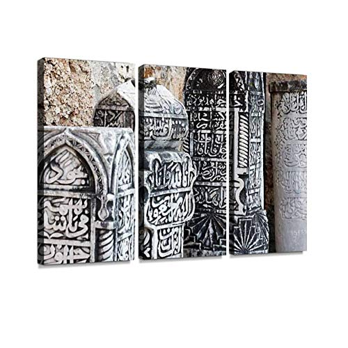 (Ottoman tombstones Print On Canvas Wall Artwork Modern Photography Home Decor Unique Pattern Stretched and Framed 3 Piece)