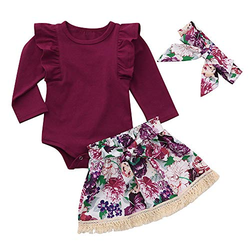 3Pcs Toddler Baby Girls Dress Outfits Overalls Floral Skirt +Headband+Romper Clothes Outfits for 6-24 Months (Wine-2, 6-12 M/Tag 90)