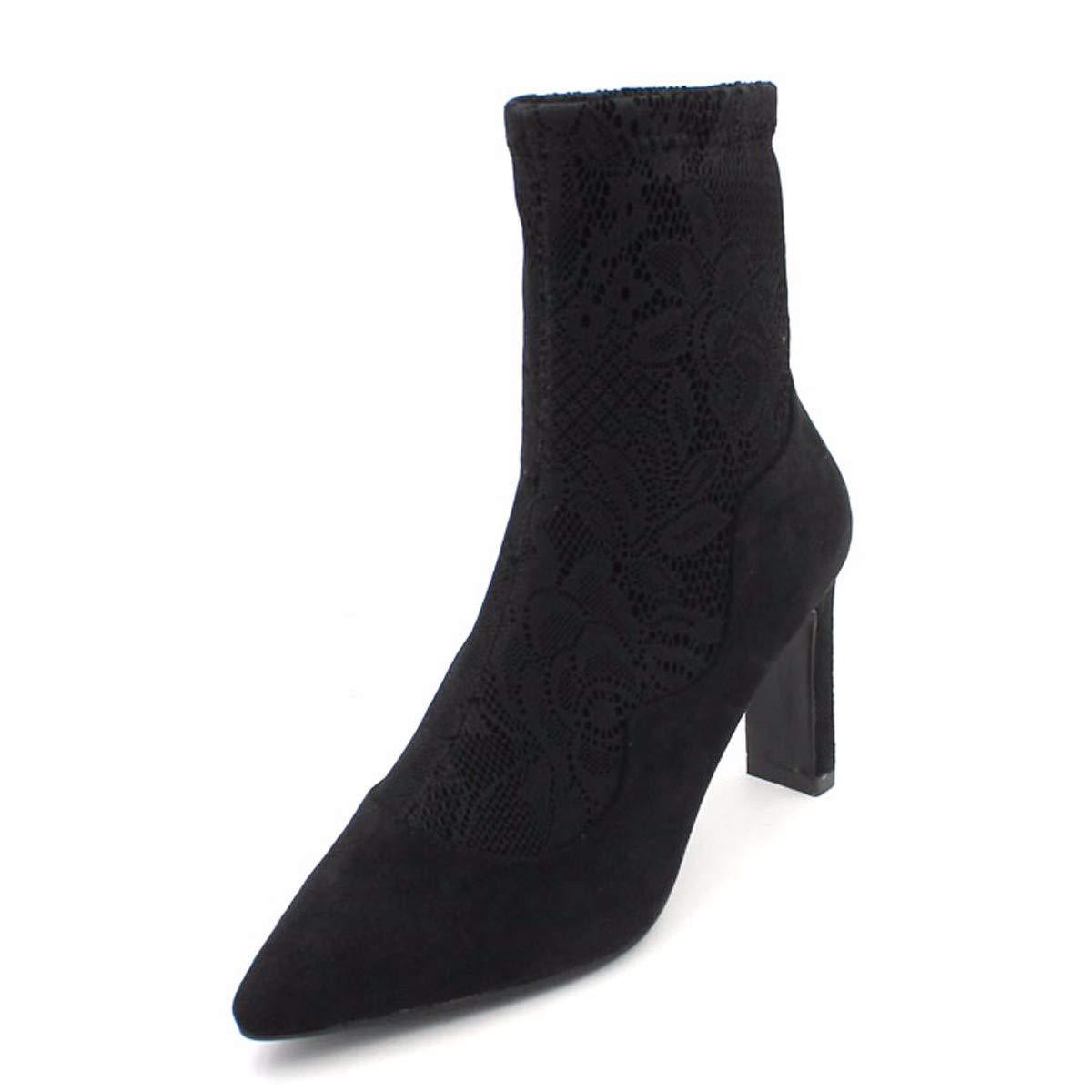 HBDLH Damenschuhe Das Dünne Dünne Dünne Stiefel Heel 8Cm Spitzen Mit Stiefeln Dicken Absätzen Spitze Kurze Stiefel a3eef2