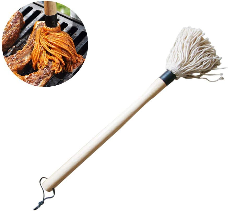 Basting Brushes Basting Barbecue Mop Cotton Fiber Head Long Hardwood Handle Dish Mop for Roasting Grilling Apply Barbeque Sauce Marinade