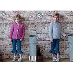 King Cole Childrens Chunky Knitting Pattern Girls Cabled Cardigan & Sweater (4969)
