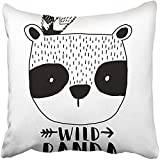 Throw Pillow Cover Square 18x18 Inches Black Bear Panda White Cute Happy Animal Baby Beautiful Beauty Cartoon Polyester Decor Hidden Zipper Print On Pillowcases
