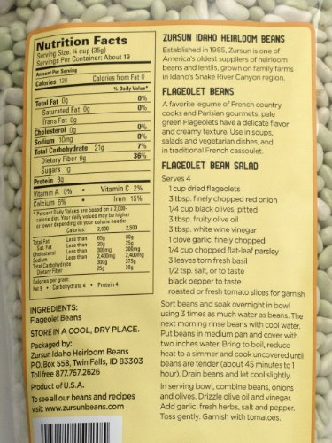 Heirloom Flageolet Beans Idaho Pack of 2 680 g 24 oz each by Zursun Ltd.