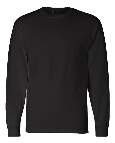 072687220d70 Amazon.com: Champion Mens 5.2 oz. Long-Sleeve T-Shirt (CC8C)- Black ...