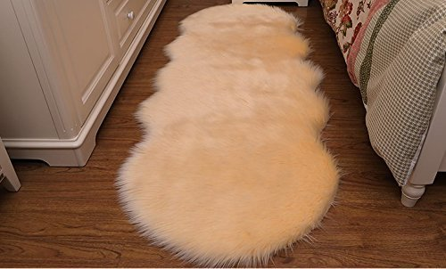 HUAHOO Faux Fur Sheepskin Rug Ivory White Kids Carpet Soft Faux Sheepskin Chair Cover Home Décor Accent for a Kid's Room,Childrens Bedroom, Nursery, Living Room or Bath. 4' Round
