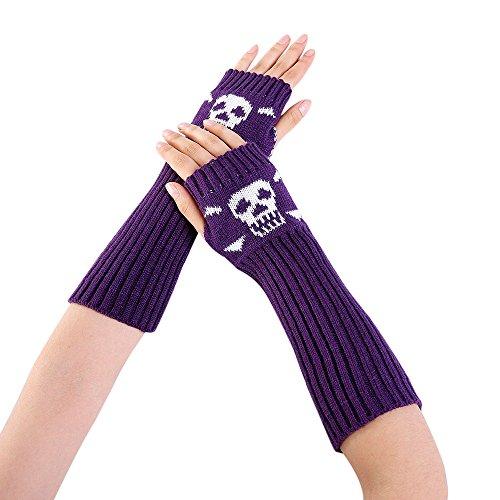 Loneflash Gloves, Women Winter Wrist Skull Arm Warmer Knitted Keyboard Long Fingerless Mitten Gloves (Purple)