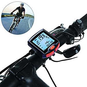 Bike Computer, Waterproof Multifunction Cycling Speedometer with Backlit Display, 60g Wireless Multi Functional Bicycle Odometer (Black)