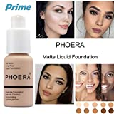 PHOERA Foundation Liquid, Foundation Concealer Makeup Full Coverage New Flawless 30ml Matte Oil Control Concealer Foundation Cream (Nude #102)