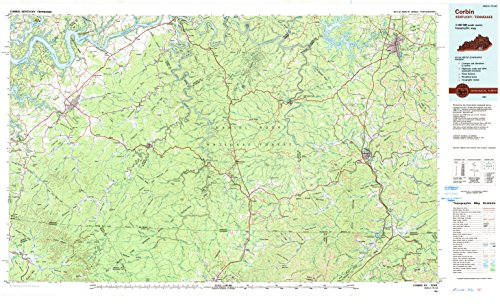 Corbin KY topo map, 1:100000 scale, 30 X 60 Minute, Historical, 1981, updated 1984, 25 x 41.2 IN - Paper (Slat Ash)