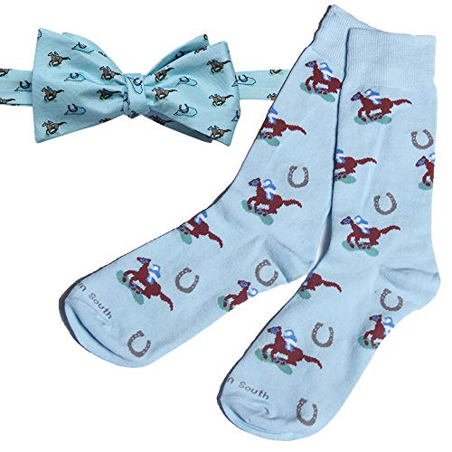 Kentucky Derby Men's Silk Bow Tie and Raceday Sock Set by Barrel Down South