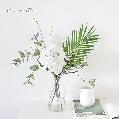 CEWOR 3pcs Artificial Hydrangea Flowers with 2pcs Fake Leaves Fake Silk Flowers for Home Wedding Garden Party Decor, (White) by CEWOR (Image #7)