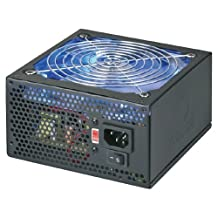 Coolmax 600W ATX Power Supply with 140mm Blue LED Fan & Single PCI-E connector - Black