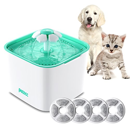 Pet Fountain Cat Dog Water Dispenser with Pump and 4 Replacement Filters - Healthy and Hygienic 2L Super Quiet Automatic Electric Water Bowl, Drinking Fountain for Dogs, Cats, Birds and Small Animals by Petacc