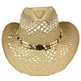 Silver Fever Ombre Woven Straw Cowboy Hat Cut-Outs,Beads, Chin Strap (Beige, Beaded)