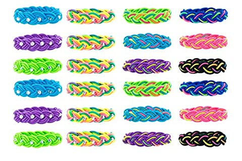 Stretch Braid Bracelets Rhinestone and Glitter 24 Pcs Great for Party Favors - Glitter Stretch Bracelet