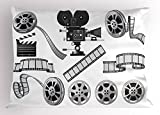 Ambesonne Movie Theater Pillow Sham, Movie Industry Themed Greyscale Illustration of Projector Film Slate and Reel, Decorative Standard Size Printed Pillowcase, 26 X 20 Inches, Grey Black