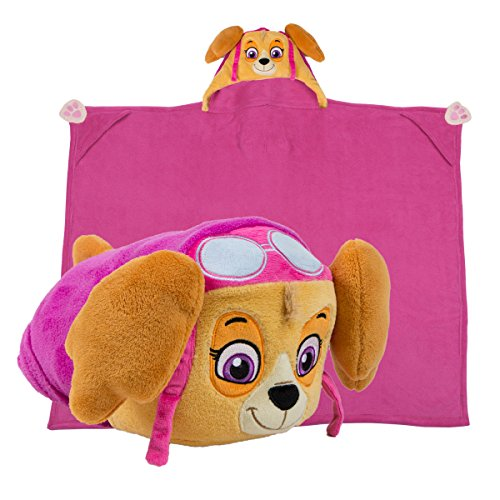 [Comfy Critters Paw Patrol Cartoon Character Hooded Blanket that Folds into a Pillow, Skye] (Last Minute Halloween Costumes For Babies)